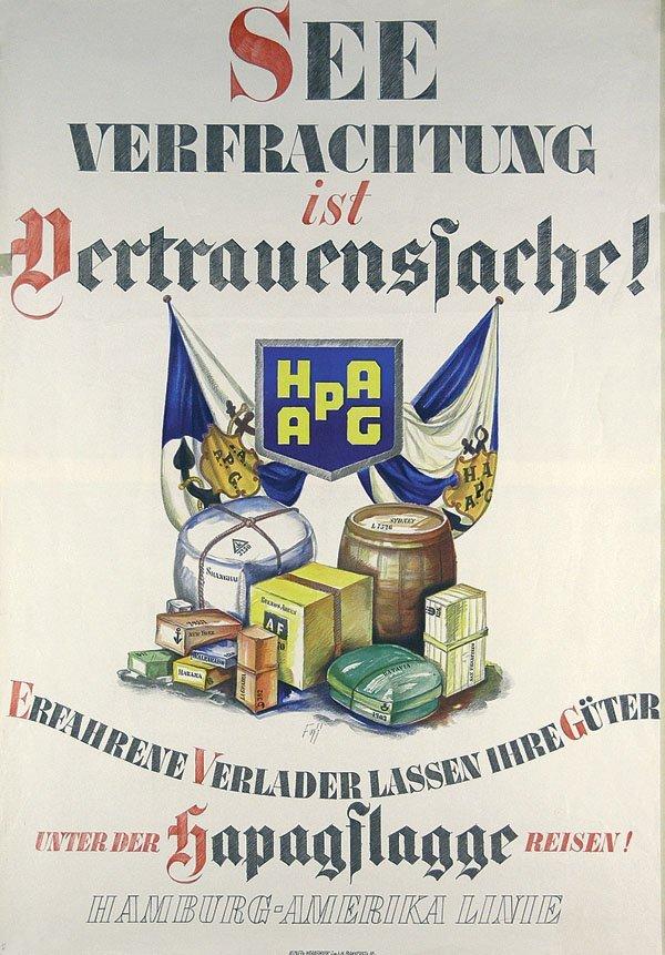 23: Original Plakat 1934 HAPAG - Seeverfrachtung