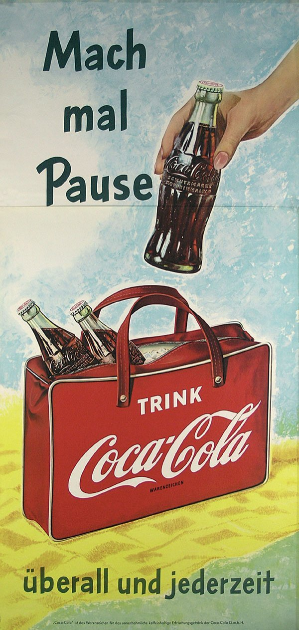 94: Altes Plakat Coca Cola 1957