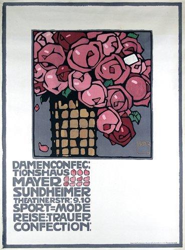 141: ORIGINAL 1909 HOHLWEIN Plakat Poster Rosenstrauss