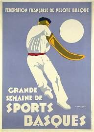 296: Original Plakat SPORTS BASQUES 1930 Poster **