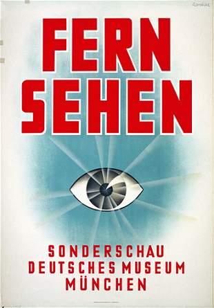 Fantastic German TV Auge Poster Plakat 1930s