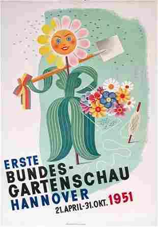 Altes Gartenschau Poster Plakat 1951