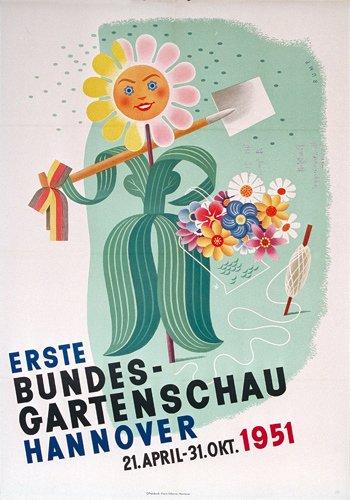 7: Altes Gartenschau Poster Plakat 1951