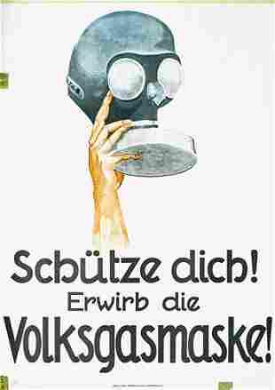 Old German Poster Plakat Gas Mask