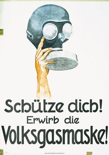 15: Old German Poster Plakat Gas Mask