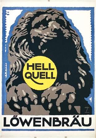 Original Ludwig Hohlwein Bier Plakat Poster