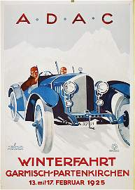 271: ORIGINAL ADAC Auto Wintersport Plakat Poster 1925