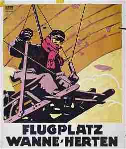 327: RARE Aviation Poster Plakat Flugplatz 1912