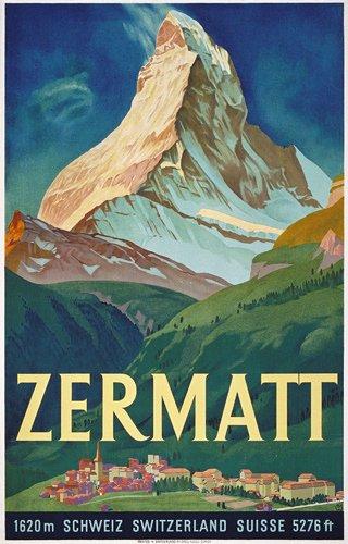 345: ORIGINAL Plakat Poster Moos Zermatt 1933
