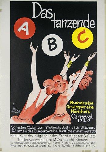 4: Altes Original Tanz Plakat Carneval 1929