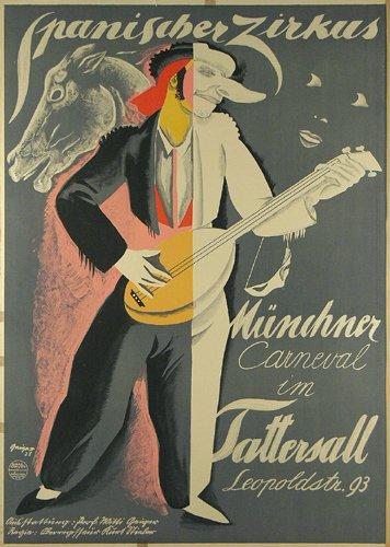 23: Altes Zirkus Plakat 1928 Carneval Muenchen
