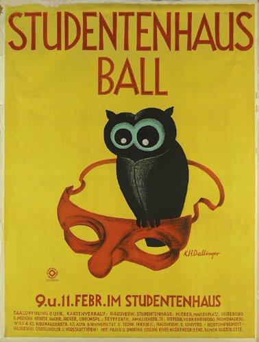24: Altes Plakat Studentenhaus Ball 1929 Eule