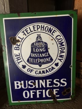 Bell Telephone Business Office Porcelain Sign