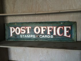 Wooden Post Office Sign