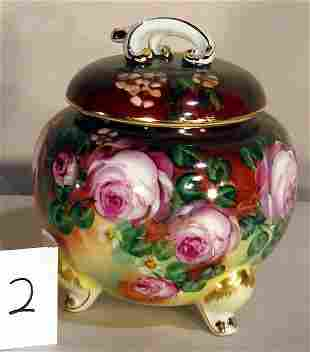HAND PAINTED PORCELAIN COVERED JAR