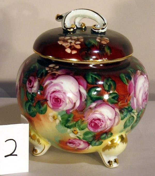 2: HAND PAINTED PORCELAIN COVERED JAR