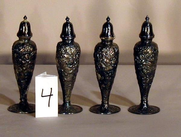 4: ANTIQUE SILVERPLATE SALT AND PEPPER SHAKERS
