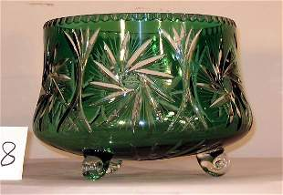GREEN CUT TO CLEAR FOOTED BOWL