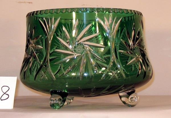 8: GREEN CUT TO CLEAR FOOTED BOWL