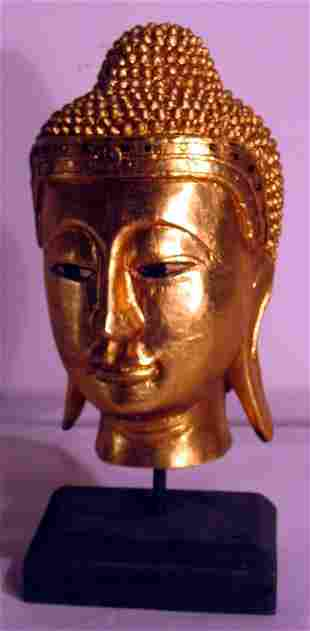 GOLD CARVED GODDESS HEAD SCULPTURE
