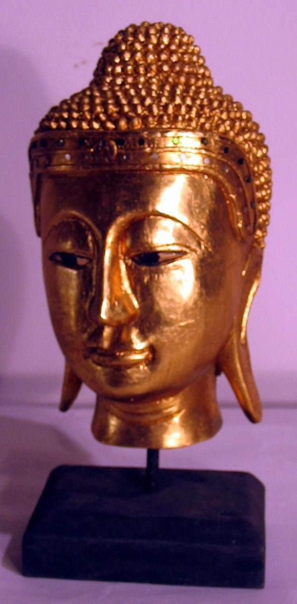 12: GOLD CARVED GODDESS HEAD SCULPTURE