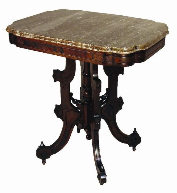 507: VICTORIAN BROWN MARBLE TOP LAMP TABLE