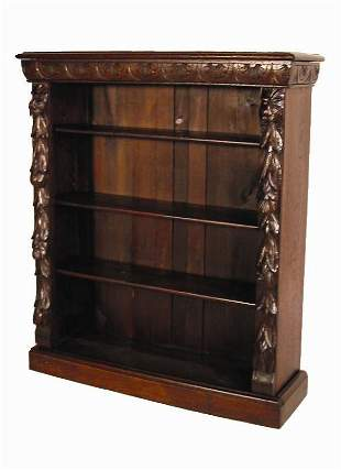 FRENCH OPEN SHELF CARVED BOOKCASE