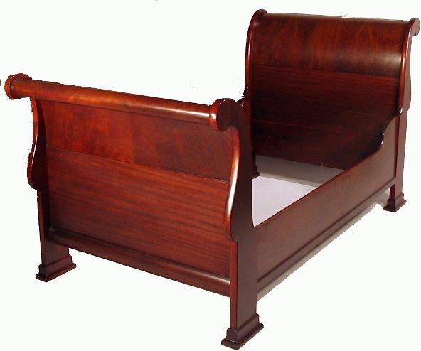 541: PR. MAHOGANY TWIN EMPIRE SLEIGH BEDS