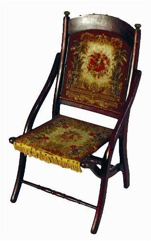 VICTORIAN ROSEWOOD FAUX GRAINED FOLDING CARPET CHA