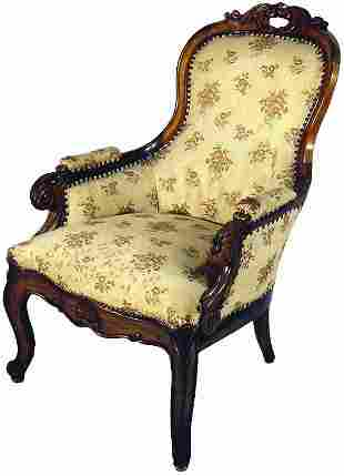 CARVED ROSEWOOD VICTORIAN PARLOR CHAIR