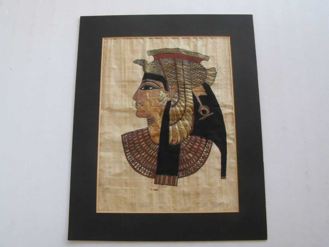 Lot of 4 Hand painted Papyrus Egyptian Egypt Art