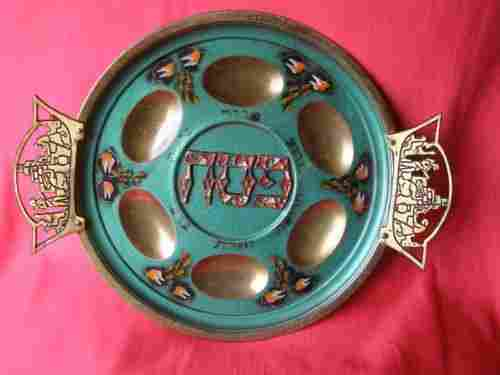 Vintage Brass Jewish Passover Plate ISRAEL 1950's, 60's