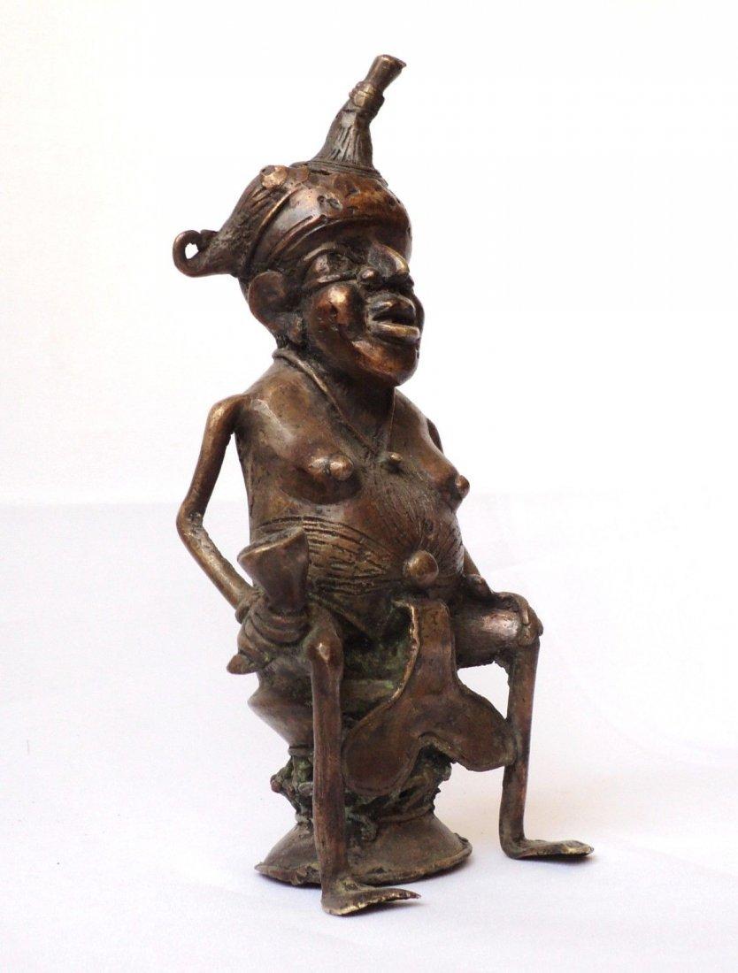 Congo African Tribal Chief Bronze Figure Statue
