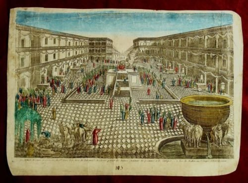 """1750 Engraving: """"Succoth Festival in The Temple"""""""