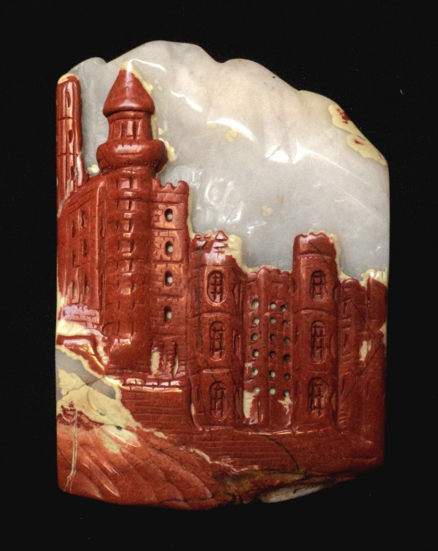 Carved Red River Jasper ,Gothic View