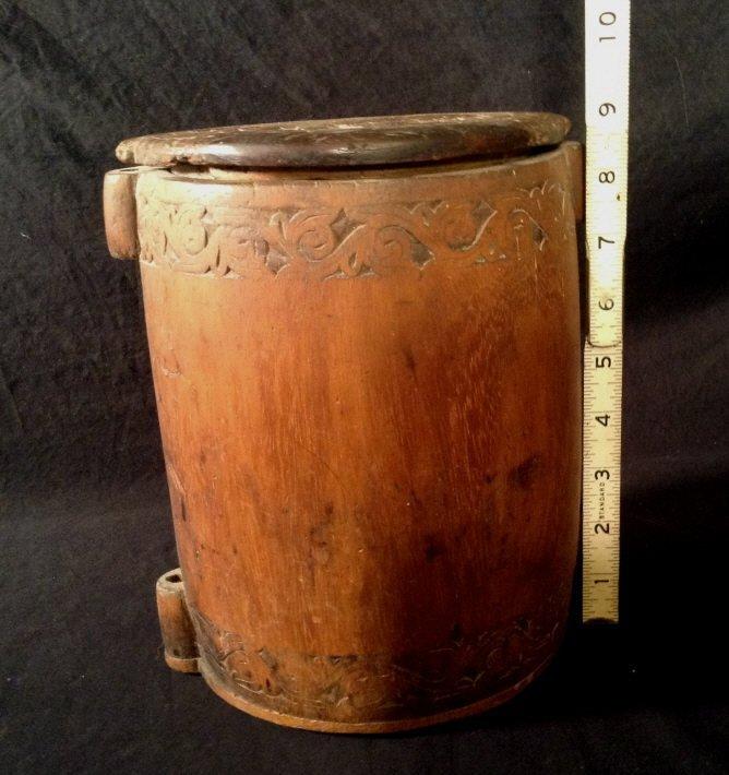 wood carved brush pot