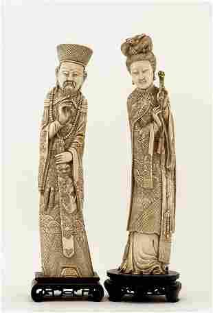 Lg Old Chinese Ivory Tusk Emperor & Empress