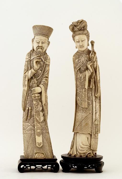 1: Lg Old Chinese Ivory Tusk Emperor & Empress