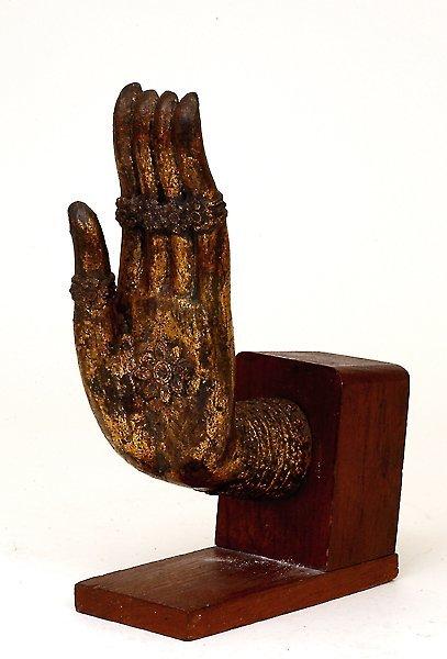 2: 18C Chinese Tibetan Gilt Bronze Buddha Hand