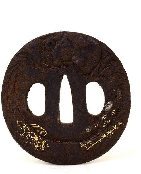 3: 18C Japanese Sword Guard Tsuba Gold Silver