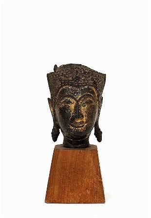 18C Thai Cambodia Bronze Buddha Head Stand