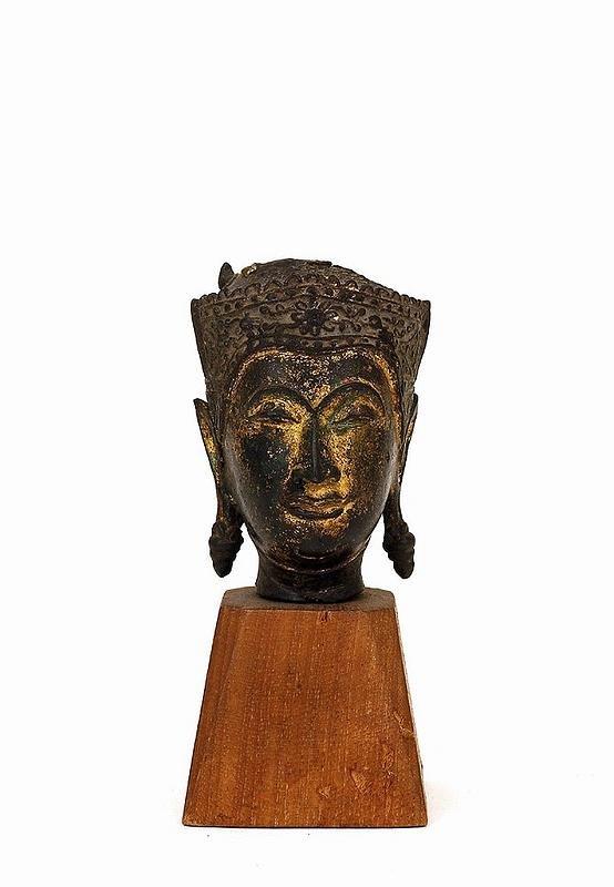 5: 18C Thai Cambodia Bronze Buddha Head Stand