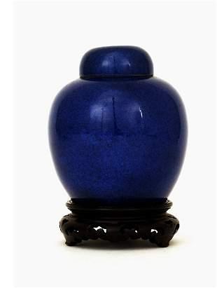 1920 Chinese Cobalt Blue Porcelain Tea Caddy