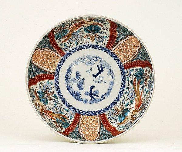 10: 1920's Japanese Imari Phoenix Punch Bowl