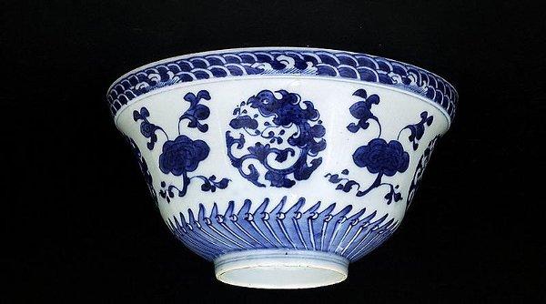 11: 1930 Chinese Blue & White Medallion Bowl Mk