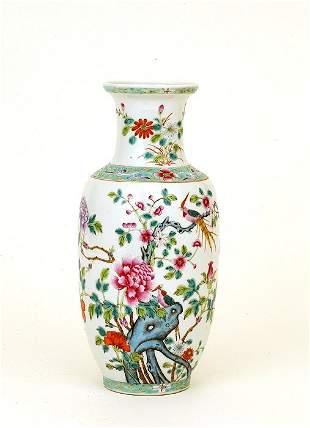 1930 Chinese Enamel Famille Rose Vase Mk