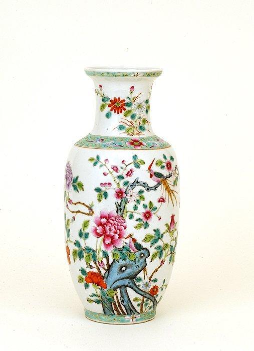 12: 1930 Chinese Enamel Famille Rose Vase Mk