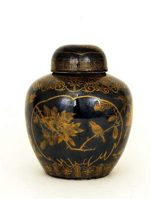 1930 Chinese Export Gilt Black Glaz Tea Caddy