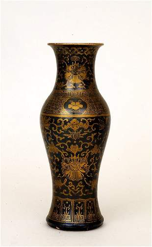 1930 Chinese Gilt Black Glaze Porcelain Vase