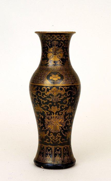 16: 1930 Chinese Gilt Black Glaze Porcelain Vase